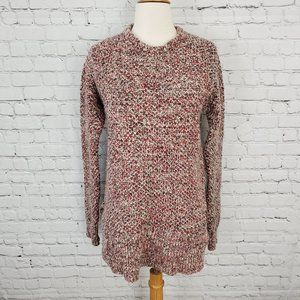 Roots Chunky Knit Wool Sweater Red Gray M